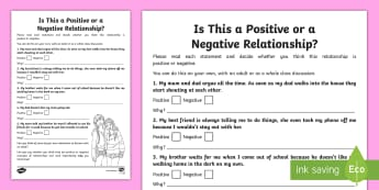 Is This a Positive or Negative Relationship? Activity Sheet - young people, feelings, emotions, behaviours, families, Scenarios