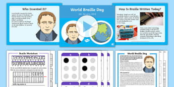 World Braille Day CfE Second Level IDL and Resource Pack - Braille, Blind, Visually Impaired, VI, Louis Braille, Partially Sighted, topic planner, 2nd level