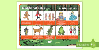 Traditional Tales Word Mat Arabic/English - Fairy Tale Word Mat - fairy tale, word mat, mat, words, tale, wordmat, book day, world book day, boo