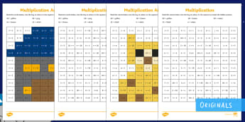 Back to Earth with a Bump Maths Multiplication Mosaic Activity Sheet - twinkl fiction, space, KS1, times table, worksheet, calculations