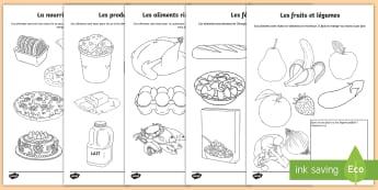 Feuilles de coloriage : Une alimentation saine - Alimentation, nutrition, nutriments, protéines, cycle 2,French