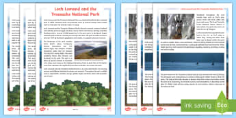 Loch Lomond and The Trossachs Differentiated Fact File - CfE Literacy, reading comprehension strategies, physical features, landscape, mountains, lochs, wood