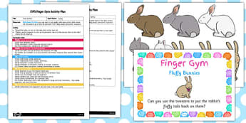 EYFS Fluffy Bunnies Finger Gym Activity Plan and Prompt Card Pack