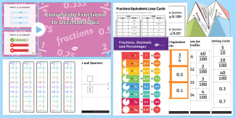 Fractions to Decimals - fractions to decimals, pack, resources