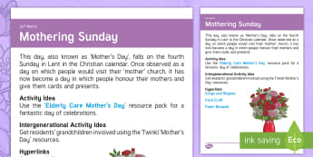 Mother's Day Adult Guidance - Calendar Planning March 2017, Mother's Day, Activity Co-ordinator, Support, Ideas, Elderly Care, Ca