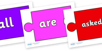 Tricky Words on Jigsaw Pieces - Tricky words, DfES Letters and Sounds, Letters and sounds, display, words
