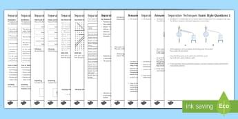 KS3 Separation Techniques Assessment Package - Assessment Package, separation techniques, distillation, evaporation, solute, solvent , solution