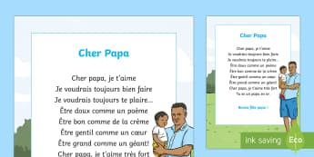 Poème : Cher papa - La fête des pères - La fête des pères, cycle 3,cycle 2,  KS2, Father's Day, 18th June, 18 juin, papa, poème, poésie