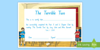 Year 3 and 4 Term 1 Chapter Chat Completion Certificate to Support Teaching On The Terrible Two by Jory John and Mac Barnett - chapter chat, reading, literacy, the terrible two,