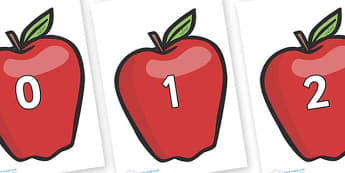 Numbers 0-100 on Red Apples - 0-100, foundation stage numeracy, Number recognition, Number flashcards, counting, number frieze, Display numbers, number posters