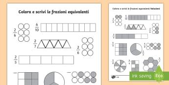 Colora e riconosci le frazioni - matematica, operazioni, frazioni, idividua, itlaiano, italian, materiale, scolastico