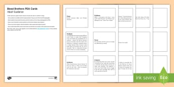 Blood Brothers PEA Cards - Blood Brothers, Willy Russell, PEA, Point Evidence Analysis, PEE, Point Evidence Explain, essay writ
