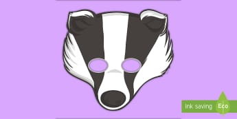 Badger Role-Play Mask - Animal, Face Mask, Key Stage One, Black and White, Classroom, Fun, Theme, Character, Act, Acting