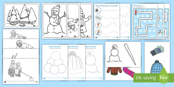 Winter Paralympics Fine Motor SEN Resource Pack - sporting events, winter sports, Special Educational Needs, Pencil Control, Letter formation, pencil