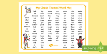 Circus Themed KS1 Word Mat - key stage one, visual aid, keywords