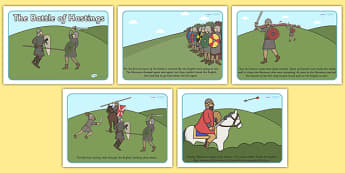 The Battle of Hastings Story Sequencing - The Battle of Hastings, English, Normans, battle, sequencing, story sequencing, story resources, A4, cards, Saxons, Harold, William, sword, archer, retreat, cavalry, arrow, eye