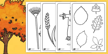 Autumn Colouring Sheets - colour, colouring, seasons, weather