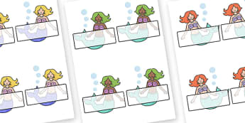 Editable Self Registration Labels (Mermaids) - Sea, seaside, display, editable, label, topic, fantasy, sea, seaside, under the sea