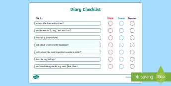 KS1 Diary Writing Checklist - Diary, Diaries, Writing Diaries, Diary WAGOLL, Success Criteria, Diary Extract, Diary Entry