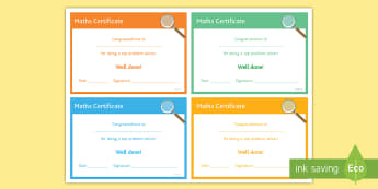 Maths 'Problem Solver' Certificate - Rewards, Learning, Positive, Praise, Award, Certificate, Recognition