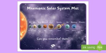 Mnemonic Solar System Mat - mnemonic solar system mat, solar system, mnemonic, planets, planet, system, sun, mat, ooster, display, the sun, mercury, venus, earth, mars, jupiter, saturn, uranus, neptune
