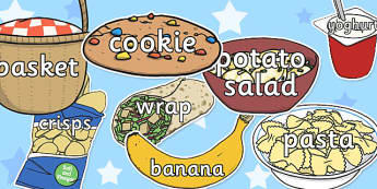 Words on Picnic Items - words, picnic, items, images, topic
