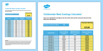 Childminder Meal Costings Calculator Spreadsheet - child minder, accounts, tax, accounting, food, meals, business