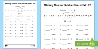 Missing Number Subtraction within 20 Activity Sheet - take away, subtract, number line, inverse, maths, worksheet
