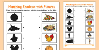 Thanksgiving Shadow Matching Worksheet -  worksheets, shadows