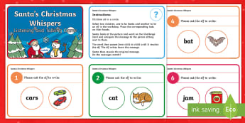 Santa's Christmas Whispers Challenge Cards - Talking, Listening, Games, Vocabulary, Social games