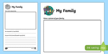 All About My Family Activity Sheet, worksheet