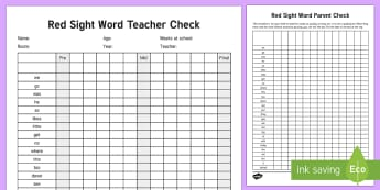 Red Reading Sight Words Checklist - Literacy, Reading, Red, Colour Wheel, red Sight Words, english, red list, record, tracking