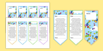End of Year Poem Editable Bookmarks - end of year, poem, editable, bookmarks