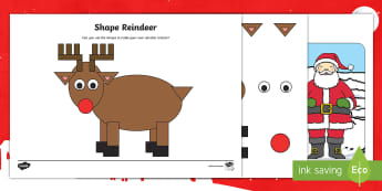 Shape Reindeer Activity Sheets - worksheets, 2d shapes, rectangle, oval, christmas, EYFS, Early Years, KS1, Key Stage 1, Christmas, C