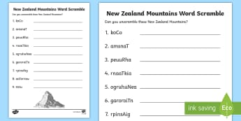 New Zealand Mountains Word Unscramble - word unscramble, vocabulary, mountains, New Zealand, Aotearoa, my place