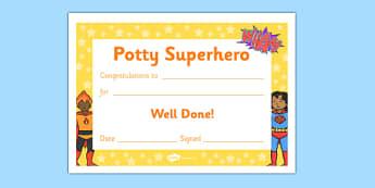 Potty Superhero Certificate - potty superhero certificate, potty, pot, superhero, toilet, certificates, award, well done, reward, medal, rewards, school, general, certificate, achievement