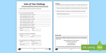 Units of Time Challenge Activity Sheet - time, Year 3 measurement, days in week, months of year, leap year, weeks in year