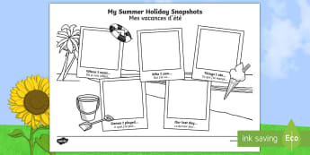 Summer Holiday Snapshots Writing Frames English/French - End of Year/Back to School Australia, Summer Holiday Snapshots  Writing Frames, writing frame, liter