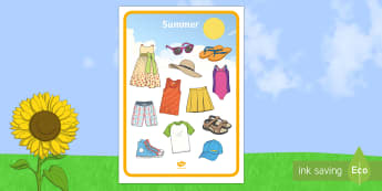 Summer Clothes Mat - summer clothes, mat, word mat, summer, clothes, word
