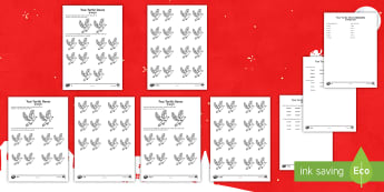 Two Turtle Doves Worksheet / Activity Sheet English/Hindi  -  Christmas maths, number bonds, pair, total, find, reason, reasoning, justify, explain, systematical