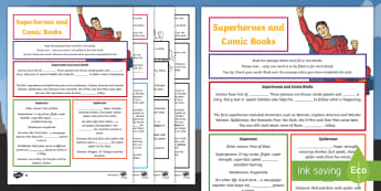 Comic Book Superheroes Differentiated Cloze Worksheet / Activity Sheets - blanks, comprehension, reading, superhero, superman, comics, comic books,