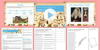 Development of English 7: Middle English Lesson Pack - medieval, chaucer, canterbury tales, Knight's Tale, Cook's Tale, middle english, timeline, transla