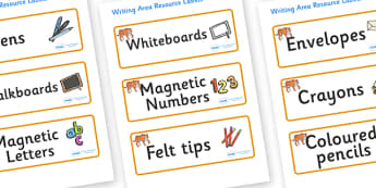 Tiger Themed Editable Writing Area Resource Labels - Themed writing resource labels, literacy area labels, writing area resources, Label template, Resource Label, Name Labels, Editable Labels, Drawer Labels, KS1 Labels, Foundation Labels, Foundation