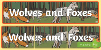 Wolves and Foxes Display Banner - winter, snow, polar regions, heading, sign, wonder, festive, wolf