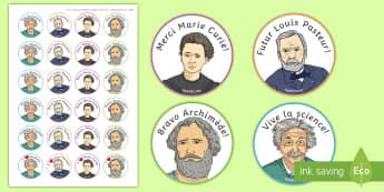 Autocollants : Les scientifiques célèbres - Science, Fête Des Sciences, Einstein, Curie, Pasteur, Archimède, Scientifiques, Jobs, Physicien, M