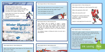 LKS2 Winter Olympics What If...? Maths Challenge Cards - y3, y4, model, discussion, korea, PyeongChang