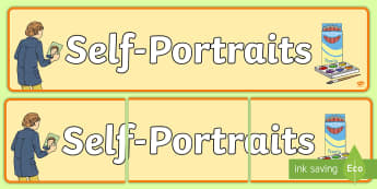 Self Portraits Display Banner - self portrait, all about me, ourselves, drawing, portrait, banner, display