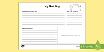 My First Day Worksheet / Activity Sheet - Back to School, New Class, Getting to Know You, First Day, Feelings, worksheet