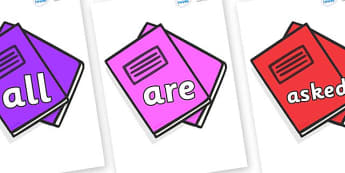 Tricky Words on Exercise Books - Tricky words, DfES Letters and Sounds, Letters and sounds, display, words
