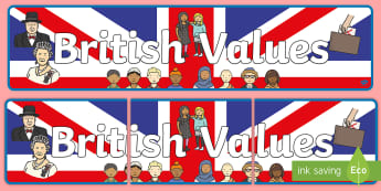 British Values Display Banner - Title, britishness, Mutual Respect, beliefs, liberty